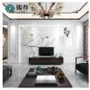 新中式电视背景墙瓷砖客厅现代简约微晶石大理石影视墙造型框整体